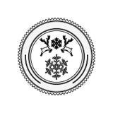 Silhouette circular border with reindeer and snowflake christmas Stock Image