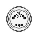 Silhouette circular border with snowflake christmas ande reindeer Stock Image