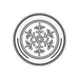Silhouette circular border with snowflake christmas Royalty Free Stock Image