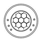 Silhouette circular border with soccer ball with decorative stars Stock Photography