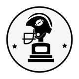 Silhouette circular frame with side view american football helmet and Trophy Cup Royalty Free Stock Images