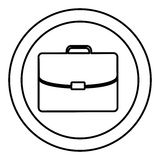 Silhouette circular frame with silhouette briefcase executive icon Royalty Free Stock Images