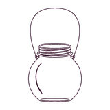 Silhouette circular glass container with handle Stock Image