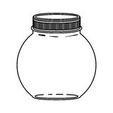 Silhouette circular glass container with lid Royalty Free Stock Photography