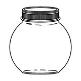 Silhouette circular glass container with lid Stock Photography