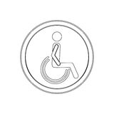 Silhouette circular shape person sitting wheelchair icon flat Stock Photos