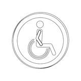 Silhouette circular shape person sitting wheelchair icon Royalty Free Stock Image