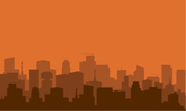 Silhouette of city with brown color Royalty Free Stock Images