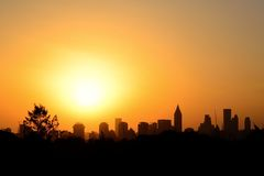 Silhouette of city buildings. Outline Royalty Free Stock Photography