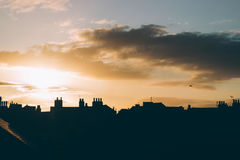 Silhouette of City Buildings during Sunset Royalty Free Stock Photo