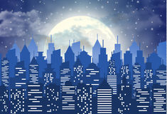 Silhouette of the city with cloudy night sky Royalty Free Stock Image