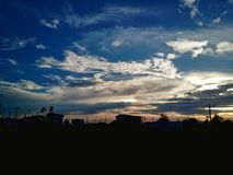 Silhouette city Cloudy sky background before strom. Hard Royalty Free Stock Images