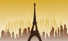 Silhouette of city and eiffel tower Stock Photo