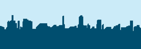 Silhouette city flat illustration. Royalty Free Stock Image