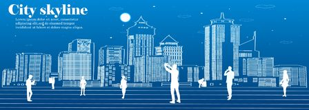 The silhouette of the city in a flat style. Modern urban landscape. illustration Stock Photo