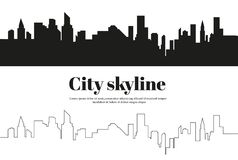 The silhouette of the city in a flat style. Modern urban landscape.vector illustration. Stock Photography