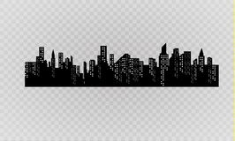 The silhouette of the city in a flat style. Modern urban landscape.vector illustration. Royalty Free Stock Photo