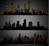 The silhouette of the city in a flat style. Modern urban landscape.vector illustration. Stock Image