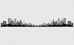 The silhouette of the city in a flat style. Modern urban landscape.vector illustration royalty free illustration