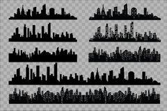 The silhouette of the city in a flat style. Modern urban landscape.vector illustration. Stock Photos