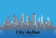 The silhouette of the city in a flat style. Modern urban landscape.vector illustration. Stock Images