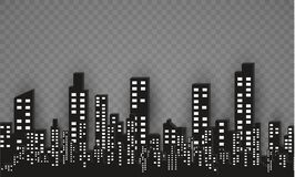 The silhouette of the city in a flat style. Modern urban landscape.vector illustration. Stock Photo