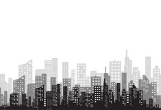 The silhouette of the city in a flat style. Modern urban landscape.vector illustration. The silhouette of the city in a flat style. Modern urban landscape Stock Images