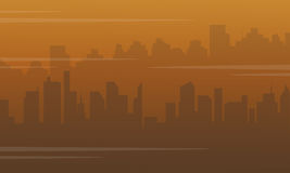 Silhouette of city with fog bad environment Stock Photo