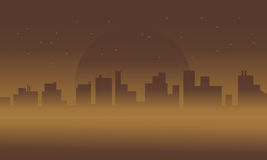 Silhouette of city in fog scenery Stock Photography