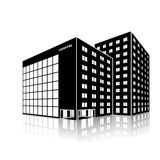 Silhouette city hospital building with reflection. On a white background Stock Image