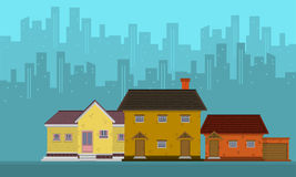 Silhouette of city with house vector flat. Collection Stock Photo