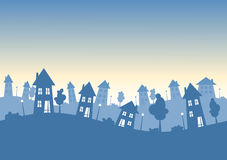Silhouette city houses skyline. Skyline with suburban houses, trees and lamps silhouettes. Real estate concept Stock Illustration