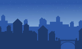 Silhouette of city landscape vector flat. Illustration Royalty Free Stock Photo