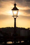 Silhouette of city lantern on the sunset in Lucerne, Switzerland Stock Photos