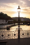 Silhouette of city lantern on the sunset in Lucerne, Switzerland Royalty Free Stock Photos