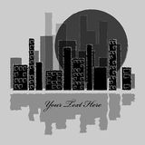 Silhouette of city and moon Stock Photos