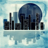 Silhouette of city and moon Stock Images