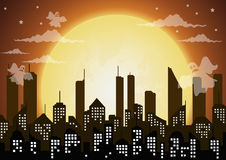 Silhouette of the city and night with  full moon,ghost halloween Stock Image