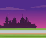 Silhouette city night road background Royalty Free Stock Photo