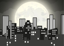 Silhouette of the city and night sky Royalty Free Stock Images