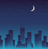 Silhouette of the city and night with stars and mo Royalty Free Stock Image