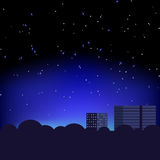 Silhouette of the city and night  stars Royalty Free Stock Photo