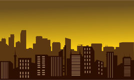 Silhouette of city at the noon Stock Photo