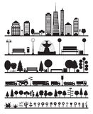 Silhouette City, Park, Forest, Road  Elements Stock Images