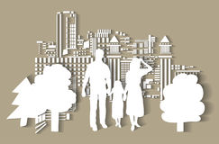 Silhouette city people family flat. Royalty Free Stock Images