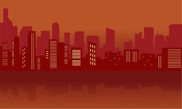 Silhouette of city with red color Royalty Free Stock Photography