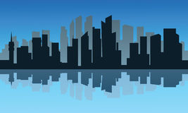 Silhouette of city and reflection at night Stock Image