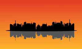 Silhouette of city and relection Stock Images