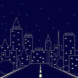 Silhouette of the city. road in the night city. Night sky over the city royalty free illustration