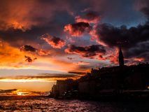 The silhouette city of Rovinj, Croatia central Europe in sunset stock photos